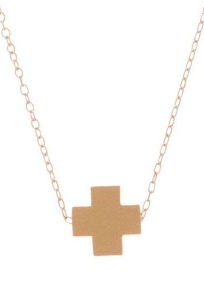 "16"" Necklace Gold Signature Cross Matte Gold"