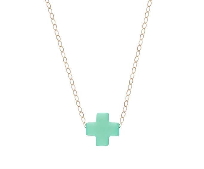 "Enewton 16"" Necklace Gold Signature Cross Mint"