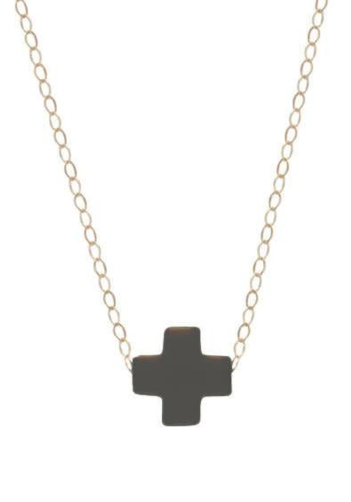 """16"""" Necklace Gold Signature Cross Charcoal"""