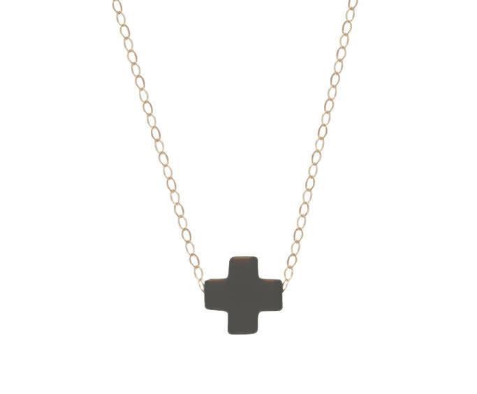 "Enewton 16"" Necklace Gold Signature Cross Charcoal"