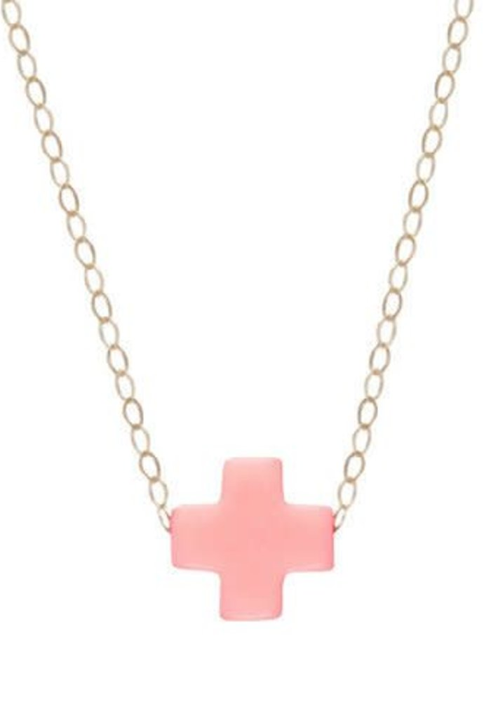 """16"""" Necklace Gold Signature Cross Pink"""