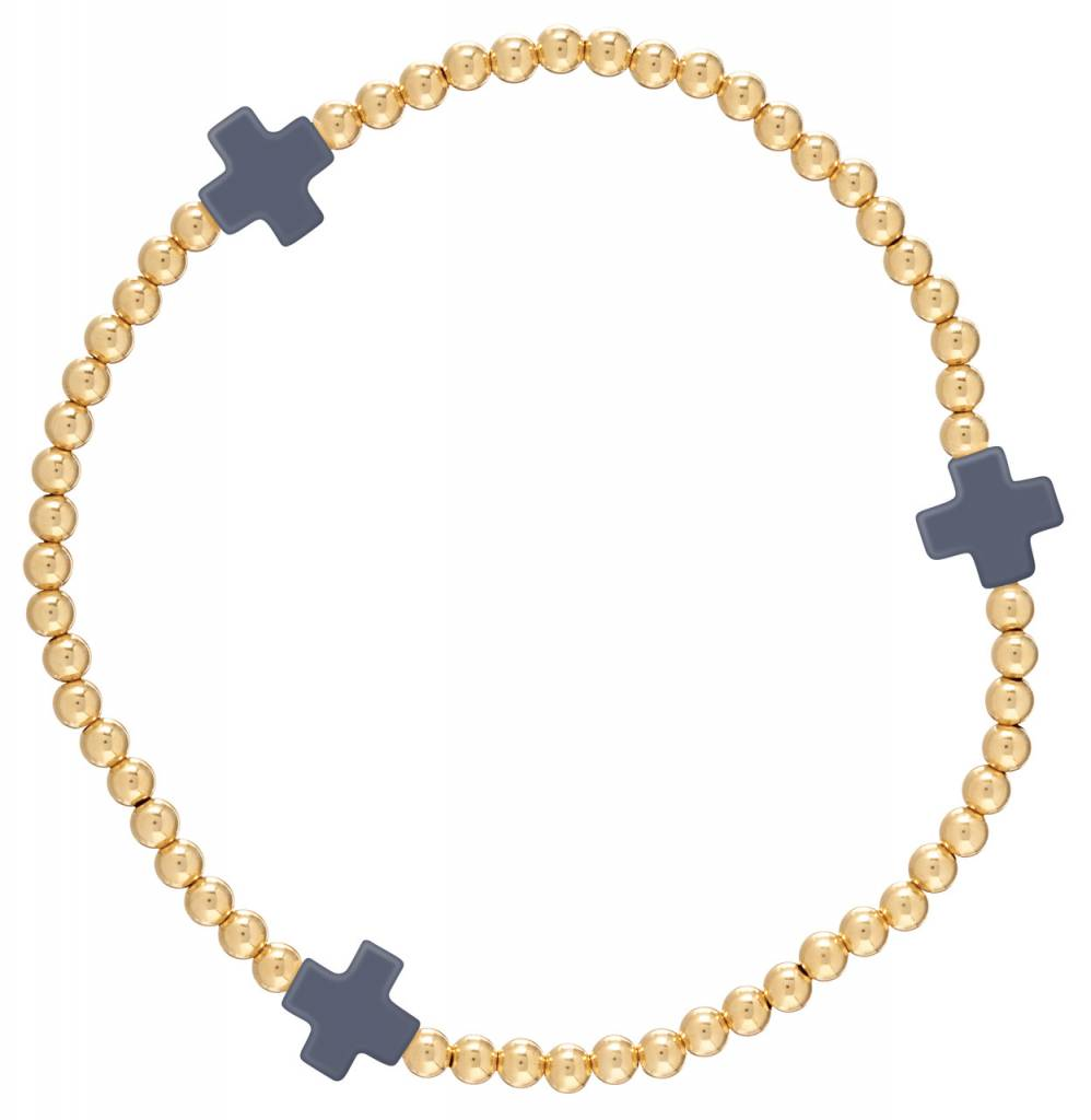 Enewton Signature Cross Gold Pattern 3mm Bead Bracelet Navy