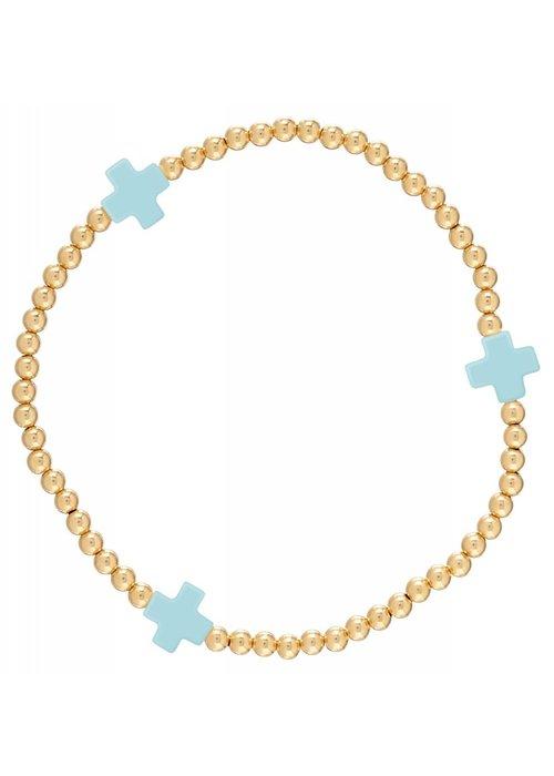 Enewton Signature Cross Gold Pattern 3mm Bead Bracelet Turquoise