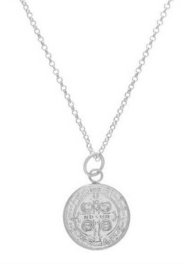 "16"" Necklace Sterling Blessing Large Sterling Charm"