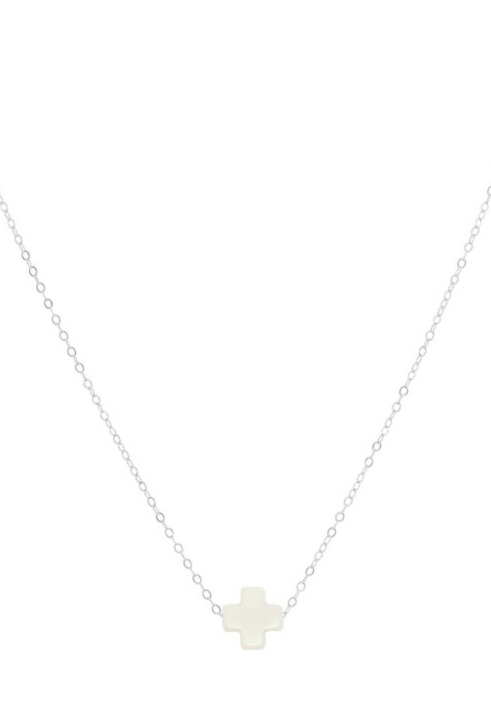 """16"""" Necklace Signature Cross Off White"""