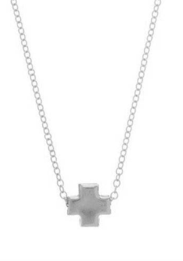 """16"""" Necklace Sterling Signature Cross Matte Sterling Mini"""