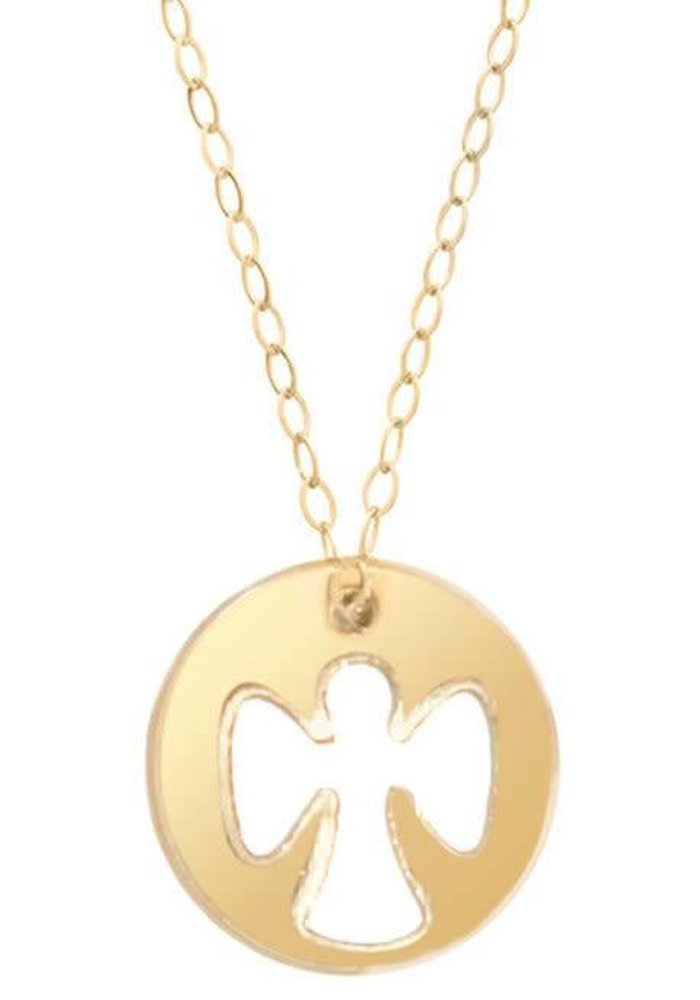 """16"""" Necklace Gold Guardian Angel Charm"""
