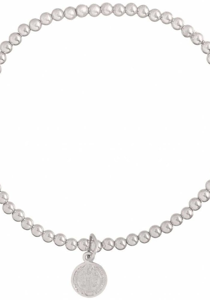 Classic Sterling 3mm Bead Bracelet Blessing Small Sterling Charm