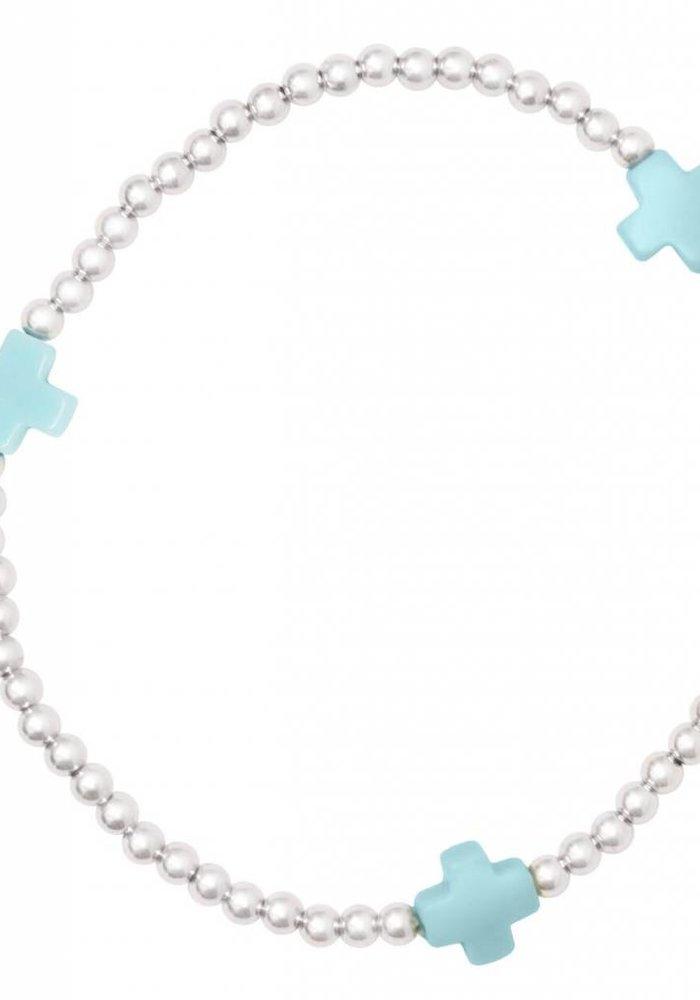 Signature Cross Sterling Pattern 3mm Bead Bracelet Turquoise