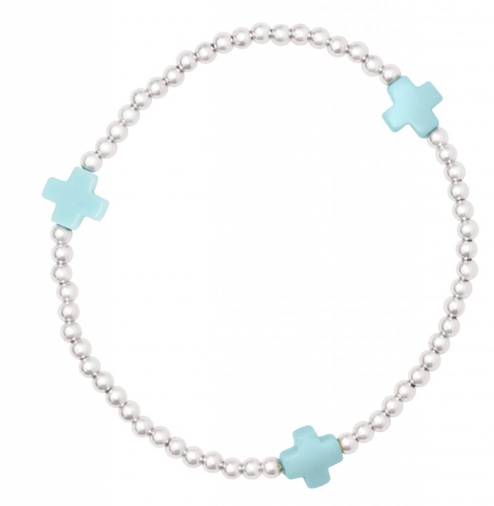 Enewton Signature Cross Sterling Pattern 3mm Bead Bracelet Turquoise