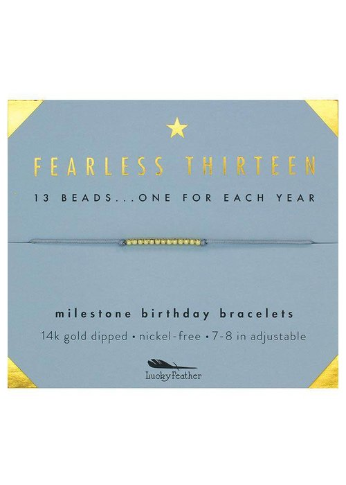 Lucky Feather Fearless Thirteen Milestone Birthday Bracelet
