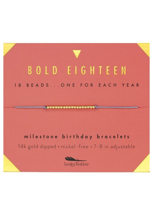 Lucky Feather Bold Eighteen Milestone Birthday Bracelet