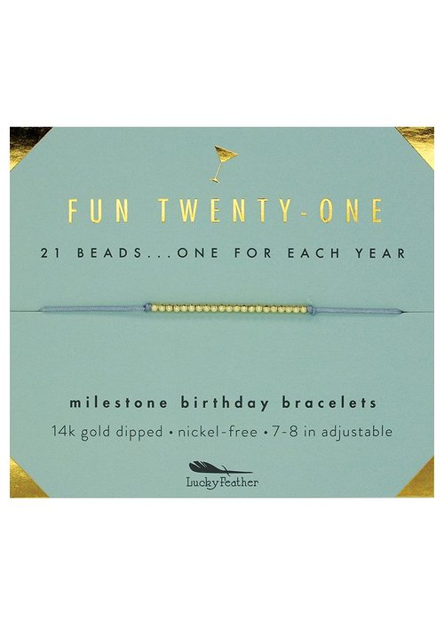 Lucky Feather Fun Twenty-One Milestone Birthday Bracelet