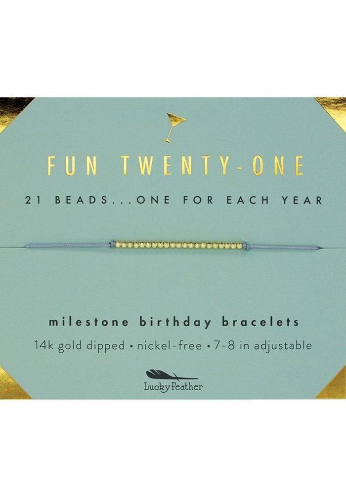 Fun Twenty-One Milestone Birthday Bracelet