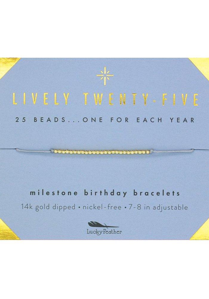 Lively Twenty-Five Milestone Birthday Bracelet