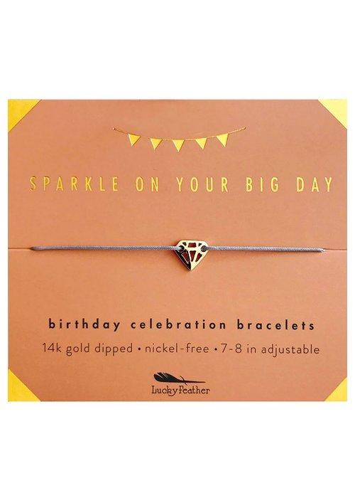 Lucky Feather Sparkly Birthday Celebration Bracelet