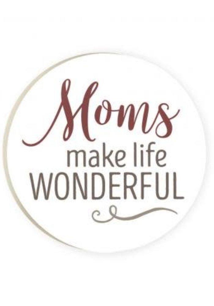 Moms Make Life Wonderful Red Car Coaster