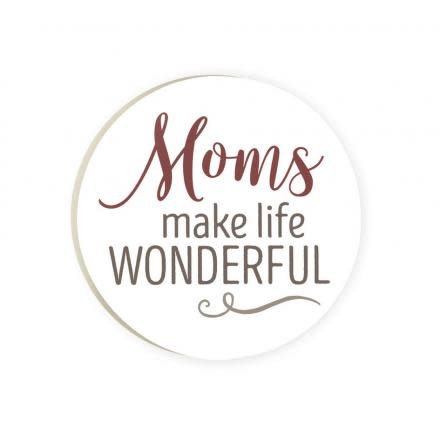 Moms Make Life Wonderful Red Car Coaster