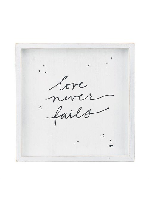 Love Never Fails Framed Board