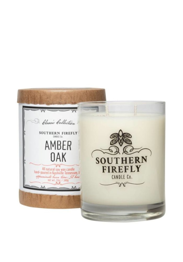 Amber Oak 14oz Glass Candle