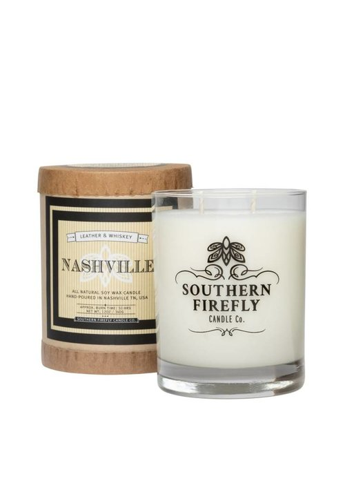 Southern Firefly Nashville Leather & Whiskey 14oz Candle