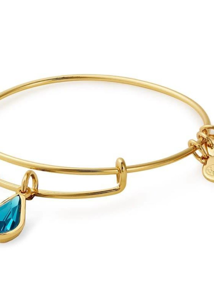 Alex & Ani December Teardrop Charm Bangle Gold