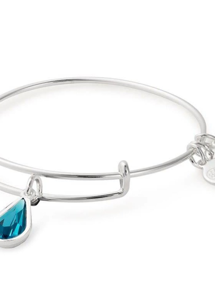 Alex & Ani December Teardrop Charm Bangle Silver