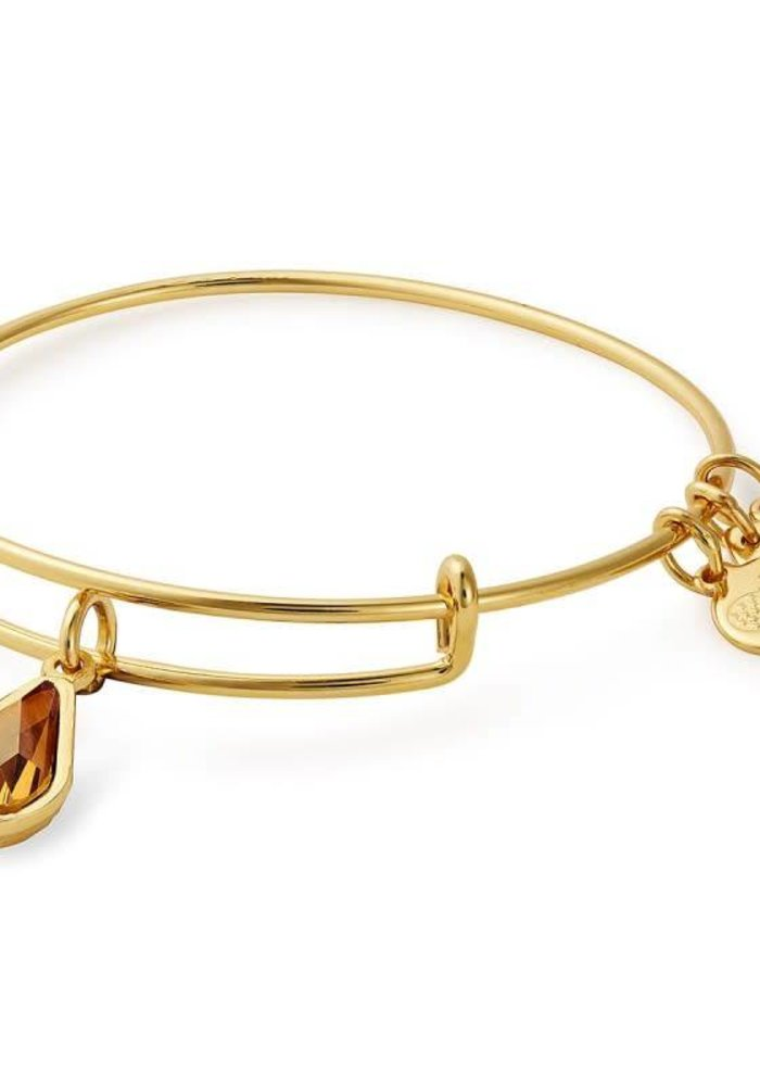 Alex & Ani November Teardrop Charm Bangle Gold