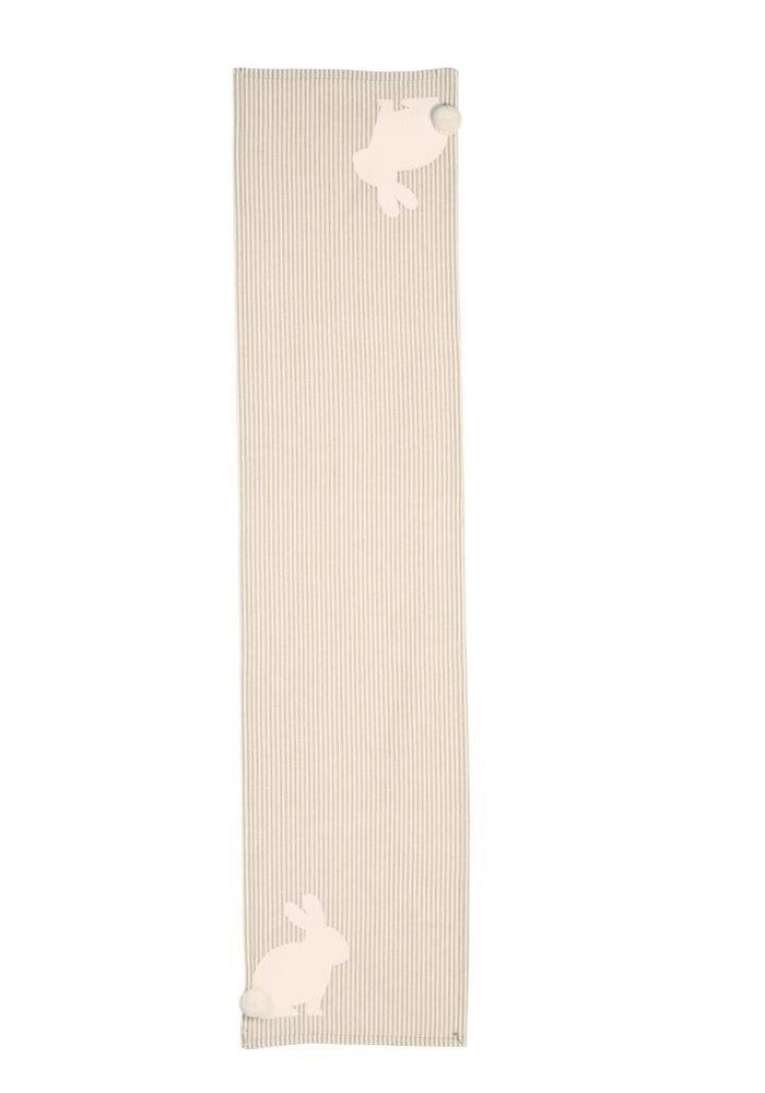 Bunny Pom Tail Striped Table Runner 23x17.5x12.5
