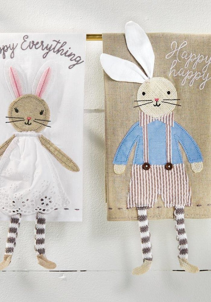 Happy Happy Overall Bunny Dangle Legs Tea Towel
