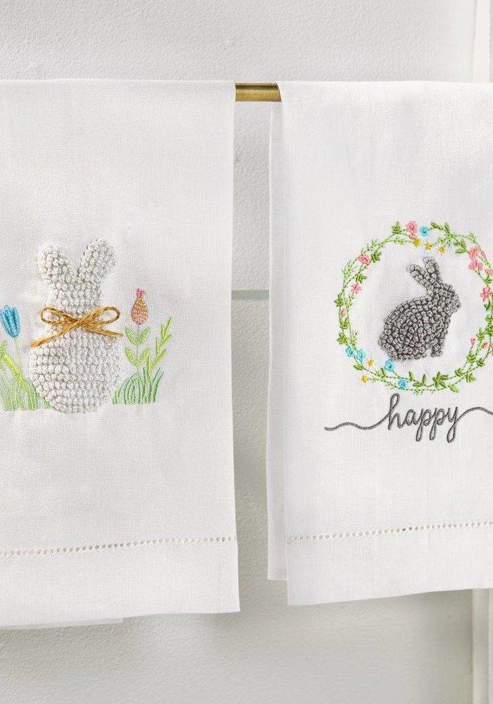 Happy Grey Bunny French Knot Tea Towel