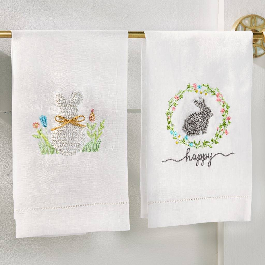 Mudpie Embroidered Flowers French Knot Bunny Tea Towel