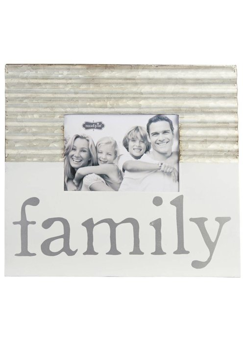 Mudpie Family Tin & White Enamel Frame
