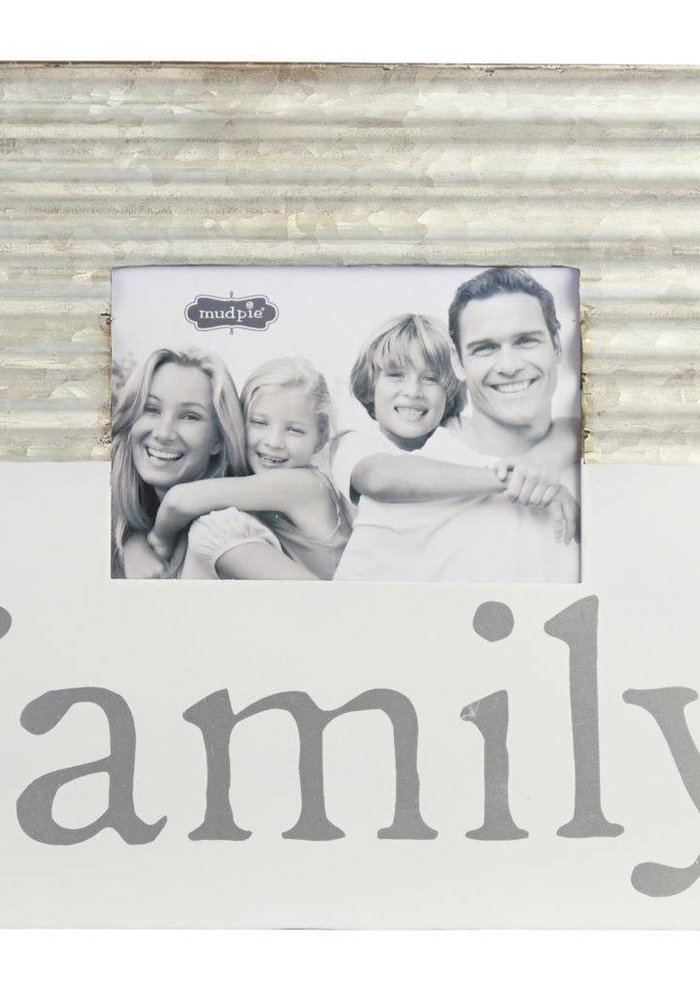 Family Tin & White Enamel Frame