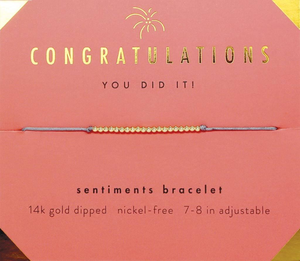 Lucky Feather Congratulations Sentiment Bracelet