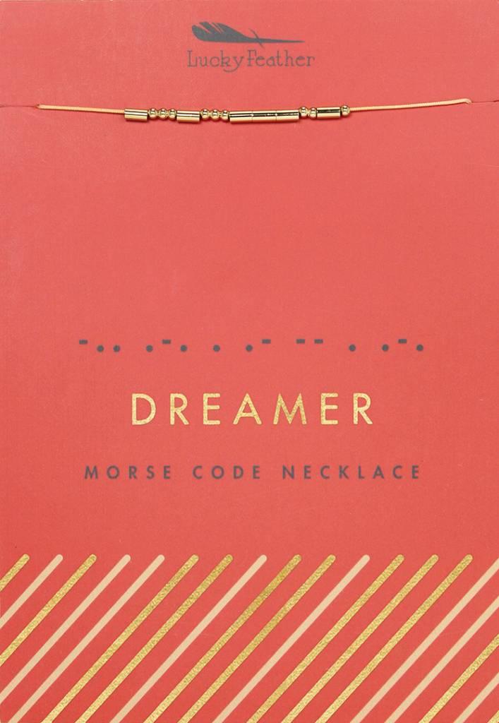 Lucky Feather Dreamer Morse Code Necklace