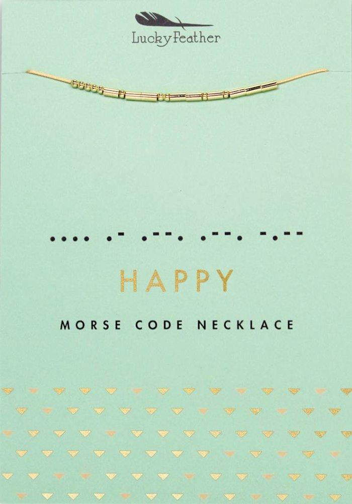 Happy Morse Code Necklace