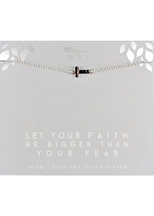 Lucky Feather Let Your Faith Be Bigger Than Your Fear Sideways Cross Silver Necklace