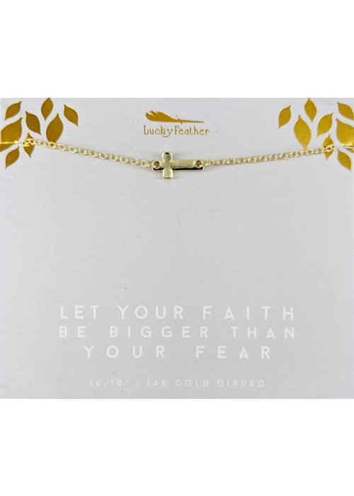 Lucky Feather Let Your Faith Be Bigger Than Your Fear Sideways Cross Gold Necklace