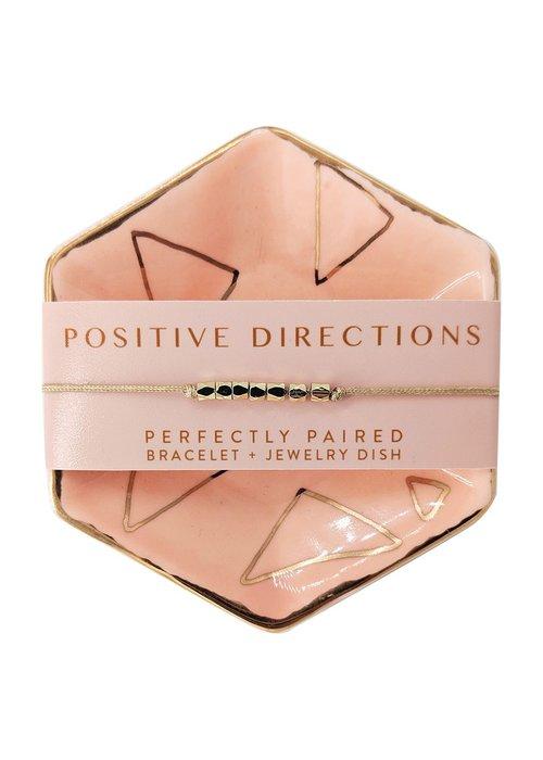 Lucky Feather Positive Directions Bracelet & Dish Set