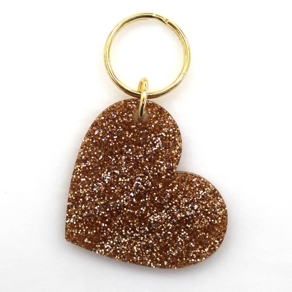 Lucky Feather Glitter Keychain Heart