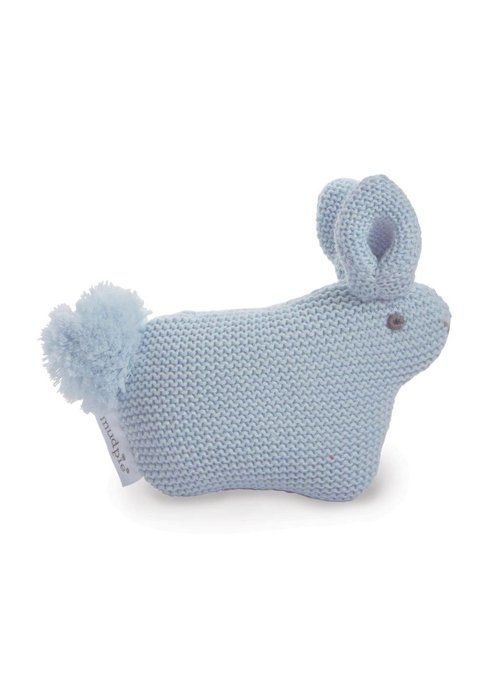 Mudpie Blue Sweater Knit Pom Tail Bunny Rattle