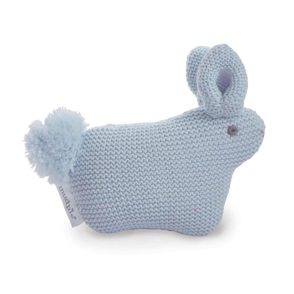 Mudpie Blue Sweater Knit Pom Tail Bunny Rattle