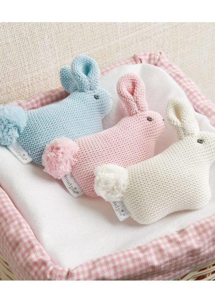 Pink Sweater Knit Pom Tail Bunny Rattle