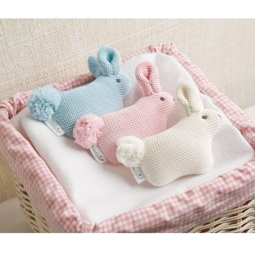 Mudpie Pink Sweater Knit Pom Tail Bunny Rattle