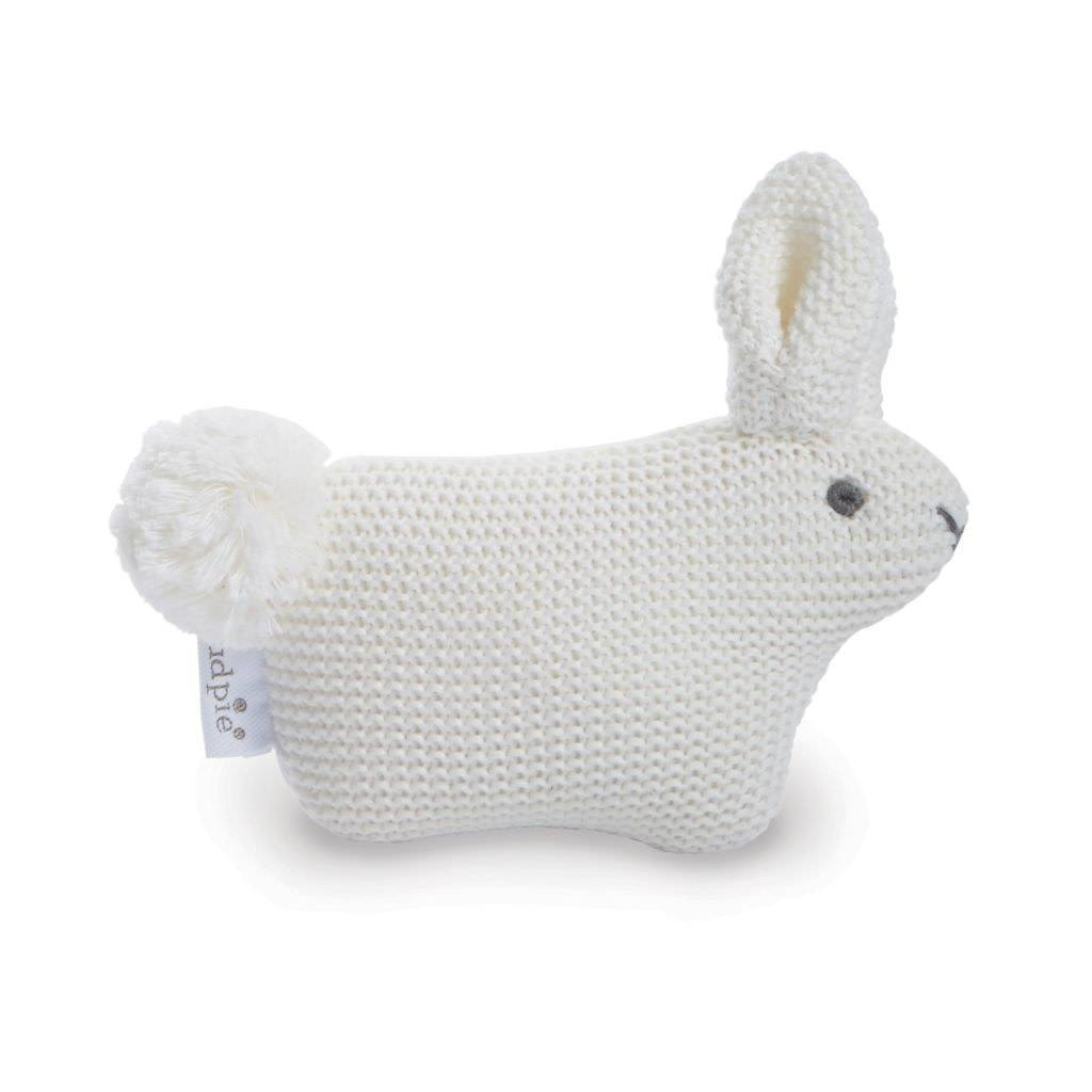 Mudpie White Sweater Knit Pom Tail Bunny Rattle