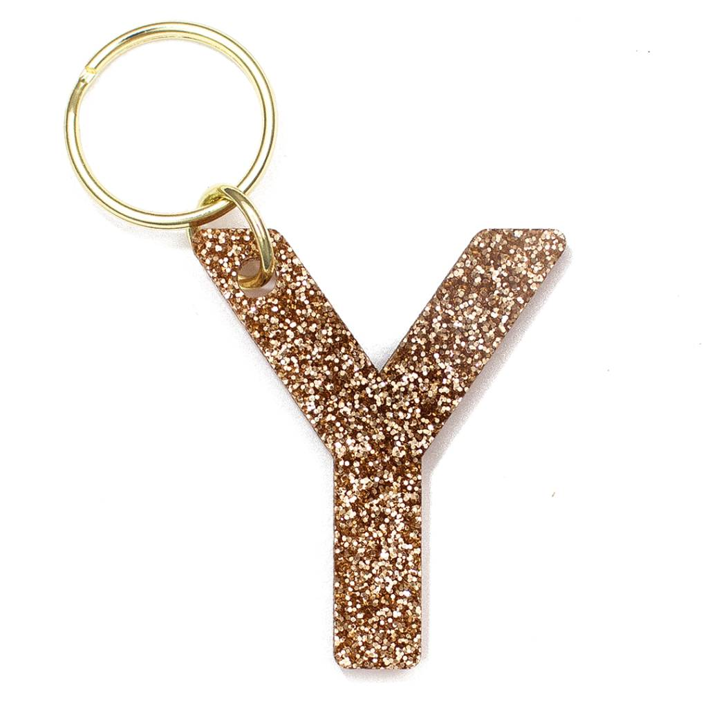Lucky Feather Glitter Keychain Y