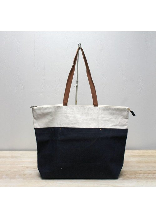 Creswell Natural/Dark Denim Canvas Tote