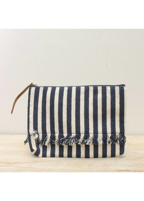 Brookings Canvas Navy Stripe Clutch
