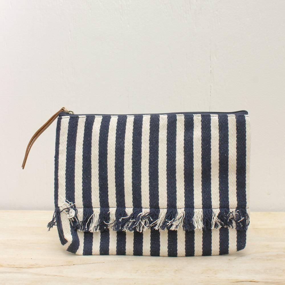 Brookings Canvas Navy Stripe Clutch